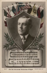 """To Vindicate the Principles of Peace and Justice"" - President Wilson Postcard"