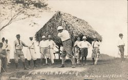 President Elect Harding at the Panama Golf Club Postcard