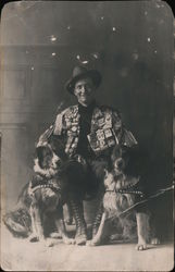 Studio Photo: A Man with Two Dogs, Political Buttonss Postcard