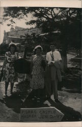 "People Standing in Front of a Sign Saying ""Morro Castle"" Postcard"