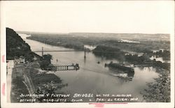 Suspension & Pontoon Bridges on the Mississippi, Marquette, Iowa Postcard