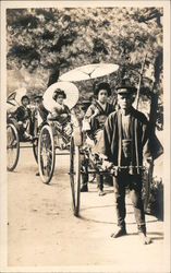 Geishas in Rickshaws Postcard