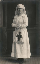 1918 Studio Photo: Nurse posing in Uniform, Red Cross Postcard