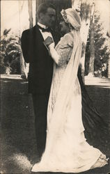A Man and Woman on their Wedding Day Postcard