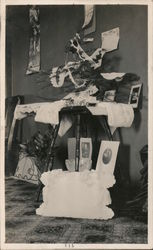 Set of 3: Views of Small Decorated Christmas Tree on Table 1915 Postcard