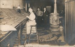 Woman Typesetting Shop Interior Print Shop Newspaper