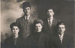 Five Teenage Boys with Cigars in Their Mouths Postcard
