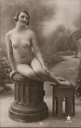 Nude Woman Sitting on a Pedestal Postcard