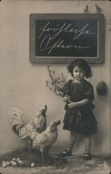 Girl with Wildflowers, Chickens Postcard