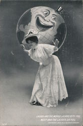 Woman with laughing globe on back. Laugh and the world laughs with you, week and the laughs on you. Postcard