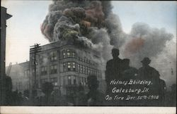 Holmes Building on fire Dec 15th 1908 Postcard