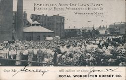 Employees Noon-Day Lawn Party Factory of Royal Worcester Corset Co. Postcard