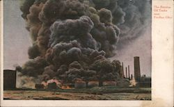 Burning oil tanks Postcard