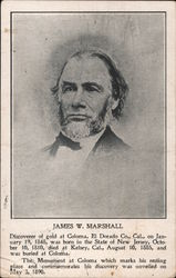 James W. Marshall, Discoverer of Gold at Coloma Postcard