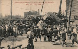 East 26th Street Car Overturned at 7th and French, Aug. 3rd, 1913 Postcard