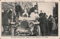 1908 De Dion (French Car) New York-Paris Auto Race, Times Square Postcard