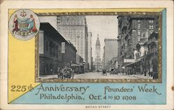225th Anniversary Founders' Week Oct 4 to 10 1908 Postcard