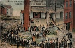 Finding of a Prominent Family on Main St., Victims of Johnstown Flood 1889 Postcard