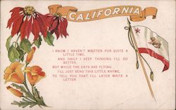 California Poppies, Poinsettia, Flag - Thinking of You Postcard