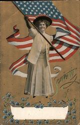 Souvenir of. Woman with flag. Write in city Postcard