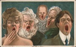 Everyone is Yawning - Too Tired to Write Postcard