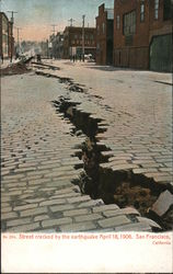 Street Cracked by the Earthquake, April 18, 1906 Postcard