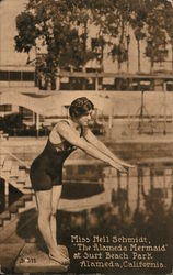 "Miss Nell Schmidt, ""The Alameda Mermaid"" at Surf Beach Park Postcard"