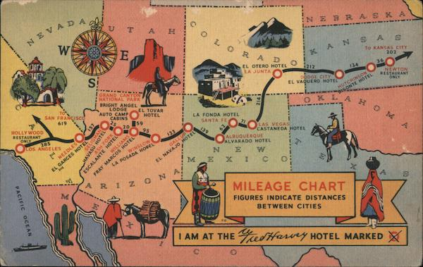 I am at the Fred Harvey Hotel marked X. Mileage chart