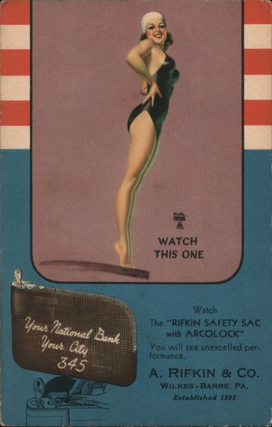 Watch this one. Girl in one piece swimsuit on diving board. Earl Moran, A. Rifkin & CO. Wilkes-Barre