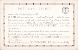 Post Card Collectors Club of America Post Card Ethics list Postcard