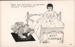 Just Married. Can't you architecs do anything without a blue-print? see through negligee Postcard