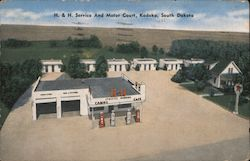 H. & H. Service and Motor Court Postcard