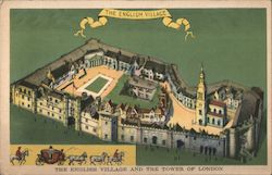 The English village and the Tower of London, horse drawn carriage Postcard
