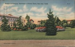Portion of Campus, University of Santa Clara Postcard