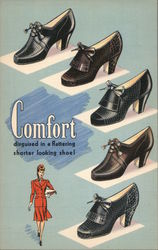 Comfort disguised in a flattering shorter looking shoe several styles shown Postcard