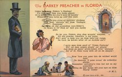 The Darkey Preacher in Florida poem by P.M.L., heavenly gate, children playing dice, preacher Postcard