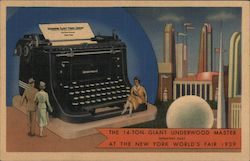 14 Ton Giant Underwood Master - New York World's Fair 1939 Postcard