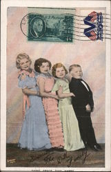 Sincerely The Doll Family. Daisy, Grace, Tiny, Harry. Strand N.Y.C. Postcard