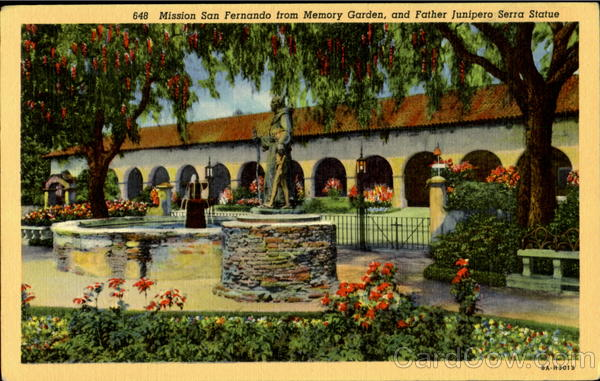 Mission San Fernando From Memory Garden, And Father Junipero Serra Statue Los Angeles California