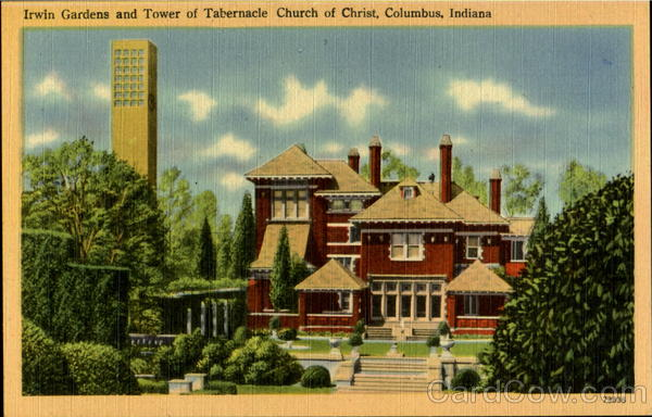 Irwin Gardens And Tower Of Tebarnacle Church Of Christ Columbus Indiana