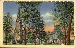 Quadrangle showing Main Building and SAcred Heart Church,Universuty of Notre Dame