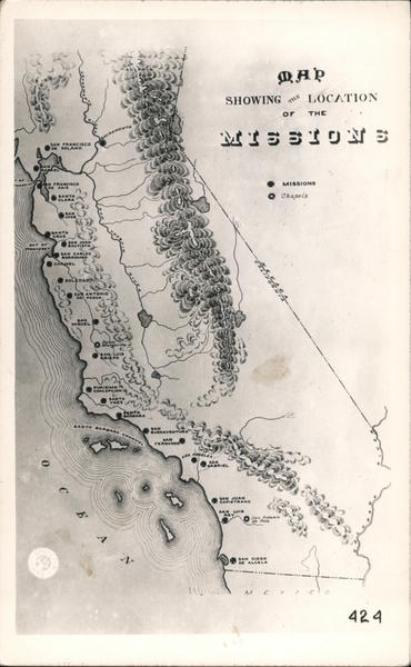 Map Showing Locations of the California Missions