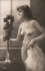 Beautiful Long-Haired Nude Woman with Flowers Postcard
