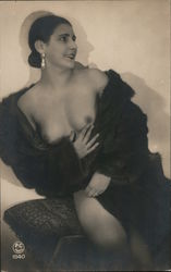 Elegant Woman Posing Topless with Fur Coat Postcard