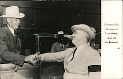 Governor Coke Stevenson of Texas Shaking Hands with FDR Postcard