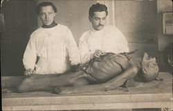 Autopsy performed on old man, two doctors. Postcard
