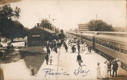 Picnic day at Gridley Train station, train waiting for passengers. Postcard
