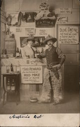 Studio: Cowboy Bar, Man in fur chaps and gun. Postcard