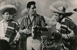 Elvis Presley playing tambourine in Mexican band. Signed Postcard