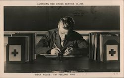 American Red Cross Service Club, Soldier Writing Letter Postcard
